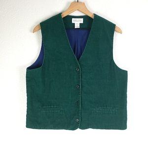 Vintage Lands' End Green Corduroy Vest